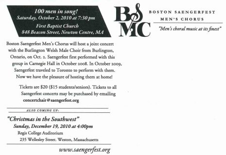 2010-10-02 October Burlington Male Welsh Concert - Postcard side