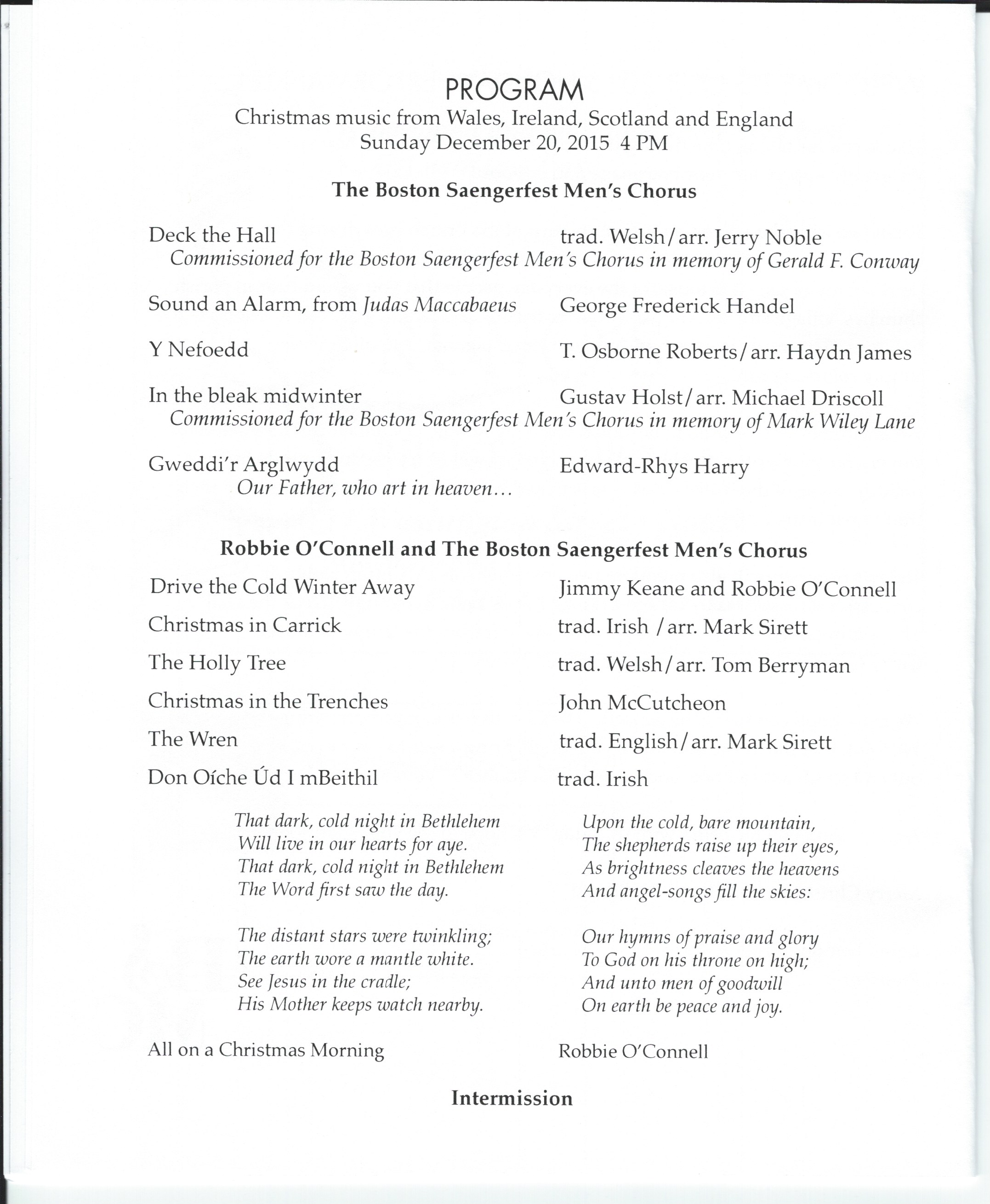 2015 christmas program list page 1 the boston saengerfest men s