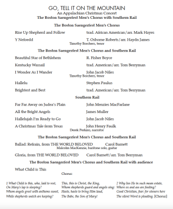 2016-12-18 Christmas Concert repertoire page 1