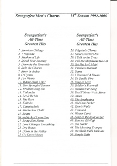 1992-2006 All-time Saengerfest Chorus Greatest Hits - page 1