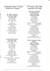 1992-2006 Saengerfest Chorus - list of songs for each year - page 2