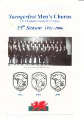 2006 Saengerfest 15th Anniversary Celebration Booklet - cover