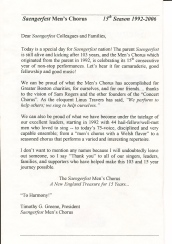 2006 Saengerfest 15th Anniversary Celebration Booklet - introduction - page 1