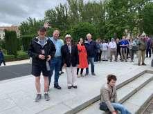 Bob McLellan, Andy Thain, Tom Rowen, Josie and Steve Foote by the Palace, Madrid