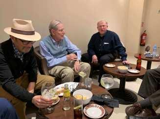Rick Atkins, Jim Reilly, Matt Gold at the bar in the hotel Regente, Barcelona