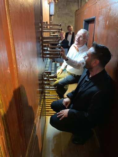 Tom Berryman playing the organ, Basilica de Castello d'Empuries